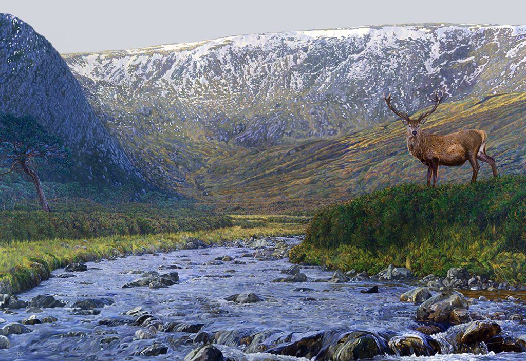 Red Deer Painting - Monarch of Glenn Alladale