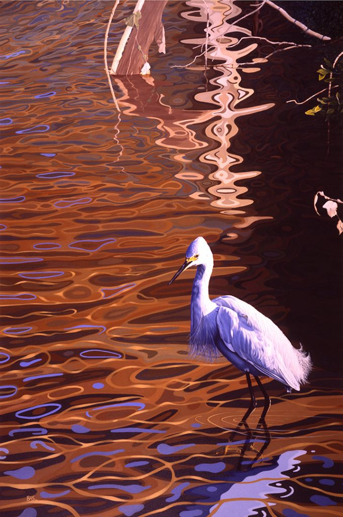 Egret Painting - Snowy in Still Waters