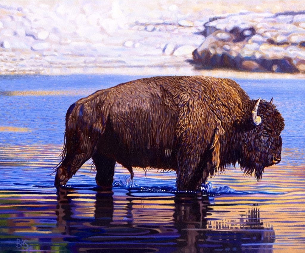 Bison Painting - The Crossing